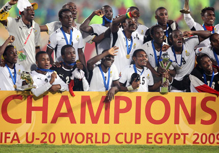 ghana's black satellites celebrate after their incredible win over Brazil in the final